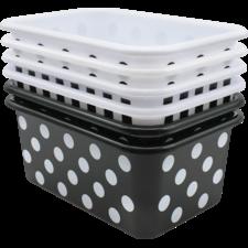 Black and White Design Small Plastic Storage Bins Set of 6