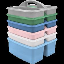 Soft Colors Plastic Storage Caddies Set of 6