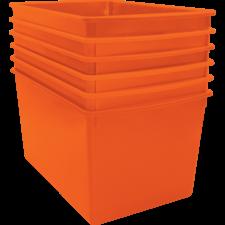 Orange Plastic Multi-Purpose Bin 6-pack
