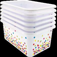 Confetti Small Plastic Storage Bins 6-Pack