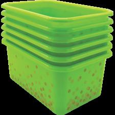 Lime Confetti Small Plastic Storage Bins 6-Pack