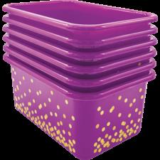 Purple Confetti Small Plastic Storage Bins 6-Pack