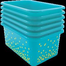 Teal Confetti Small Plastic Storage Bins 6-Pack