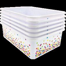 Confetti Large Plastic Storage Bins 6-Pack