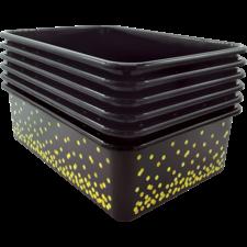 Black Confetti Large Plastic Storage Bins 6-Pack