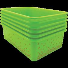 Lime Confetti Large Plastic Storage Bins 6-Pack