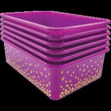 Purple Confetti Large Plastic Storage Bins 6-Pack