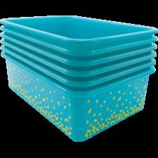 Teal Confetti Large Plastic Storage Bins 6-Pack