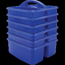 Blue Plastic Storage Caddies 6-Pack