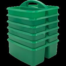 Green Plastic Storage Caddies 6-Pack