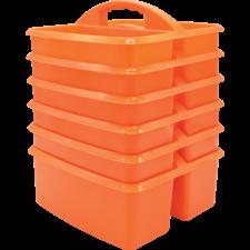 Orange Plastic Storage Caddies 6-Pack