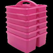 Pink Plastic Storage Caddies 6-Pack