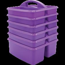 Purple Plastic Storage Caddies 6-Pack