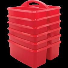 Red Plastic Storage Caddies 6-Pack