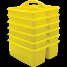 Yellow Plastic Storage Caddies 6-Pack