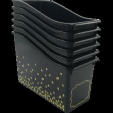 Black Confetti Plastic Book Bins 6-Pack