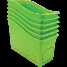 Lime Confetti Plastic Book Bins 6-Pack