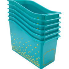 Teal Confetti Plastic Book Bins 6-Pack