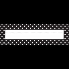 Black Polka Dots Flat Name Plates