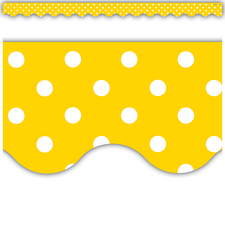 Yellow Polka Dots Scalloped Border Trim