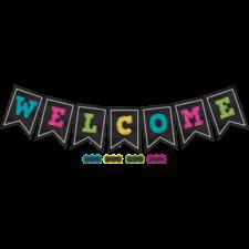 Chalkboard Brights Pennants Welcome Bulletin Board Display Set