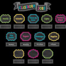 Chalkboard Brights Classroom Jobs Mini Bulletin Board