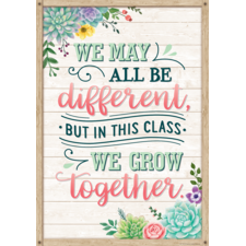 We May All Be Different, but in This Class We Grow Together Positive Poster