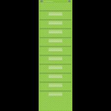 Lime Polka Dots 10 Pocket File Storage Pocket Chart