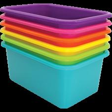 Brights Small Plastic Storage Bins Set of 6