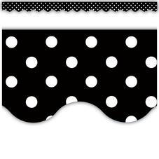 Black Polka Dots Scalloped Border Trim