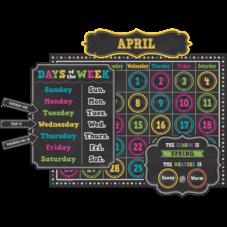 Chalkboard Brights Calendar Bulletin Board Display Set