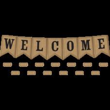 Burlap Pennants Welcome Bulletin Board Display