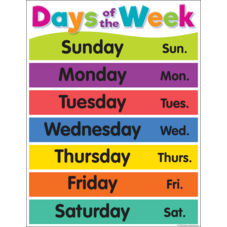 Colorful Days of the Week Chart
