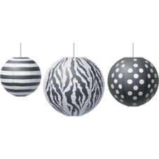 Big Bold Black & White Paper Lanterns