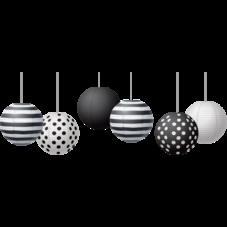 """Black & White 8"""" Hanging Paper Lanterns"""