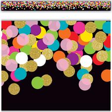 Colorful Confetti on Black Straight Border Trim