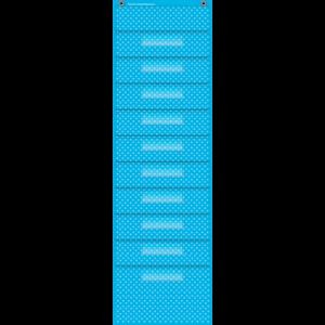 TCR20738 Aqua Polka Dots 10 Pocket File Storage Pocket Chart Image