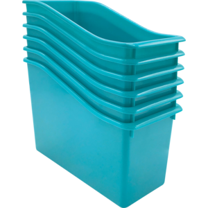 TCR2088556 Teal Plastic Book Bin 6 Pack Image