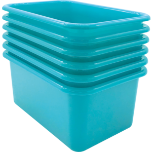 TCR2088573 Teal Small Plastic Storage Bin 6 Pack Image