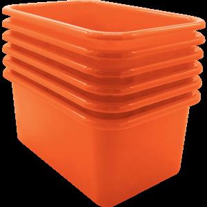 TCR2088580 Orange Small Plastic Storage Bin 6 Pack Image