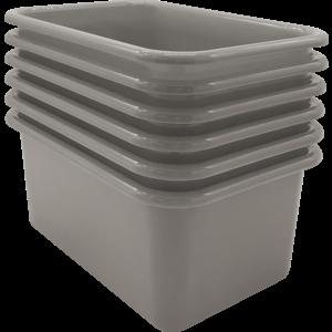 TCR2088581 Gray Small Plastic Storage Bin 6 Pack Image