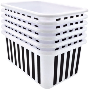 TCR2088586 Black and White Stripes Small Plastic Storage Bin 6 Pack Image