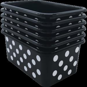 TCR2088588 White Polka Dots on Black Small Plastic Storage Bin 6 pack Image