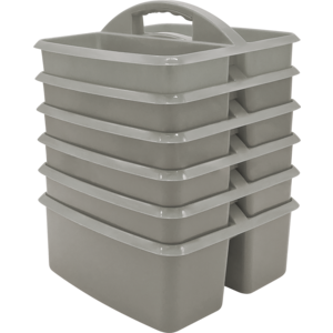 TCR2088623 Gray Plastic Storage Caddy 6 Pack Image