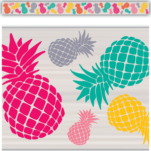 TCR2157 Tropical Punch Pineapples Straight Border Trim Image