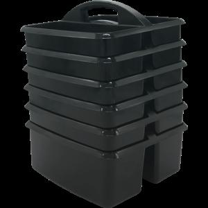 TCR32249 Black Plastic Storage Caddies 6-Pack Image