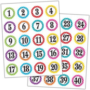TCR3567 Polka Dots Numbers Stickers Image