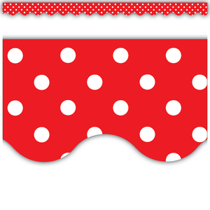 TCR4665 Red Polka Dots Scalloped Border Trim Image