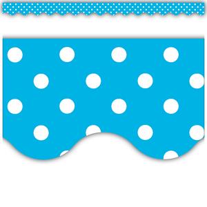 TCR4670 Aqua Polka Dots Scalloped Border Trim Image