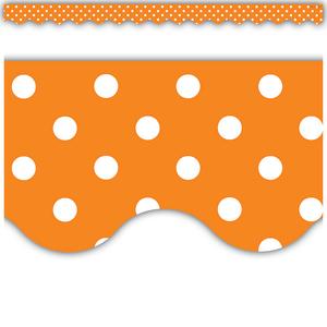 TCR5497 Orange Polka Dots Scalloped Border Trim Image